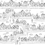 Seamless pattern with hand town design. Black and white ink background with Hand drawn houses and trees. Royalty Free Stock Photography