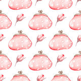Seamless pattern with handbag. Hand drawn watercolor seamless pattern with pink handbag on a white background Stock Photos