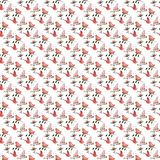 Seamless pattern handdrawn birds flowers leaves red pink summer spring Royalty Free Stock Photo