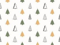 Seamless Pattern with Christmas Trees. Seamless pattern with handdrawn Christmas trees Vector Illustration