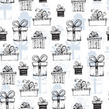 Seamless pattern with handdrawn gift boxes Royalty Free Stock Image