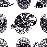 Seamless pattern Handdrawn illustration from the collection of exquisite delicacies of cuisines of the world. The set of snails al Royalty Free Stock Image