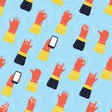 Seamless pattern with hands showing cool rock and roll signs. Hand drawn background for your design. Funny cartoon colorful seamless pattern with hands showing Stock Images
