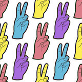 Seamless Pattern with Hands with Two Fingers Up Gesture. Background with peace symbol. Seamless Pattern with Hands with Two Fingers Up Gesture. Vector Royalty Free Stock Image