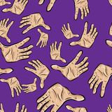 Seamless pattern of hands Stock Photography