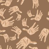 Seamless pattern of hands. Vector illustration for your design, eps10 Stock Image