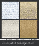 Seamless pattern: Handwritings collection. Stock Images