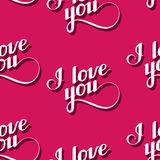 Seamless pattern of handwritten I love you retro labels. Royalty Free Stock Photography