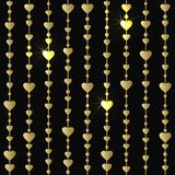 Seamless pattern with hanging gold hearts garlands. Wrapping paper vector background Stock Photography