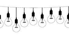 Seamless pattern hanging light bulbs,Vector illustrations Stock Images