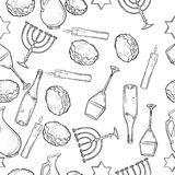 Seamless pattern with Hanukkah symbols. Vector illustration, EPS 10 stock illustration