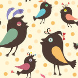 Seamless pattern with happy birds. Stock Photos
