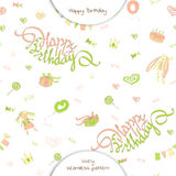 Seamless pattern happy birthday in doodle style. Royalty Free Stock Photography