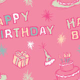 Birthday Seamless Pattern. A seamless pattern of a Happy Birthday greeting and birthday party elements Stock Illustration