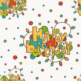 Seamless pattern with HAPPY BIRTHDAY greetings. Stock Photos