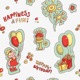 Seamless pattern happy birthday, happiness and fun Royalty Free Stock Images