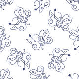 Seamless pattern with happy butterfly fairy Royalty Free Stock Photos