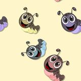 Seamless pattern with happy caterpillars Royalty Free Stock Photo