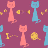 Seamless pattern with happy cats and related items against dark pink background, vector illustration. Seamless pattern with happy cats and some related items Stock Images