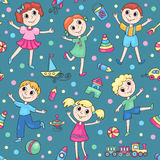 Seamless pattern with happy children Stock Image