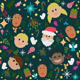 Seamless pattern of happy cute Christmas. Santa girl and boy happy together surround with candy gifts and ornaments Royalty Free Stock Photo