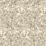 Seamless pattern of happy laughing people. Stock Image