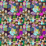 Seamless pattern of happy laughing people. Royalty Free Stock Photography