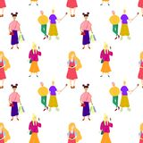 Seamless pattern with Happy men and women holding smartphone and texting, talking, taking selfie. royalty free illustration