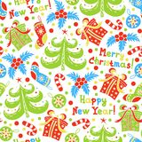 Seamless pattern Happy New Year and Christmas. On a white background Royalty Free Stock Image