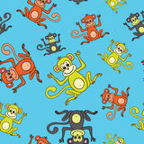 Seamless pattern Happy New Year of the Monkey 2016. On a blue background Stock Images