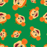 Seamless pattern happy new year of the monkey 2016. On a green background Royalty Free Stock Photography