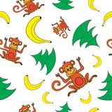 Seamless pattern Happy New Year 2016, monkeys, bananas and trees Stock Images