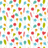 Seamless pattern with happy party balloons of different colors. Stock Photo