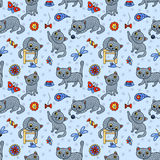 Seamless pattern with the happy playing grey cats Stock Photos