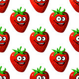 Seamless pattern of a happy ripe red strawberry Royalty Free Stock Photo