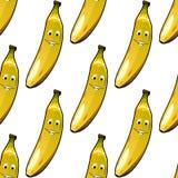 Seamless pattern of happy ripe yellow bananas Royalty Free Stock Photography