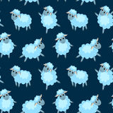 Seamless pattern with happy sheep on the blue Royalty Free Stock Photos