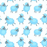 Seamless pattern with happy sheep Stock Images