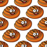 Seamless pattern of happy smiling Danish pastries Royalty Free Stock Photo