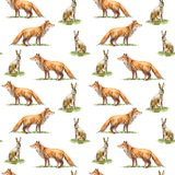 Seamless pattern of a hare and fox.Forest animals. Stock Photos