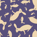 Seamless pattern with hares Royalty Free Stock Photo