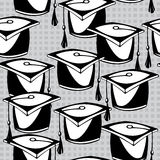 Seamless pattern hat graduate Royalty Free Stock Images