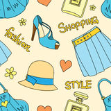 Seamless pattern with hats, bottles of perfume, footwear, skirt, handbags, hearts and flowers Royalty Free Stock Photography