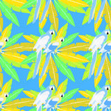 Seamless pattern of Hawaii palm and parrot Caribbean Gold vector. Seamless pattern of Hawaii palm and parrot Caribbean Gold on blue. vector illustration Stock Photo