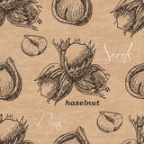 Seamless pattern with hazelnut on a vintage background Royalty Free Stock Photography