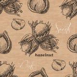 Seamless pattern with hazelnut on a vintage background Royalty Free Stock Photography