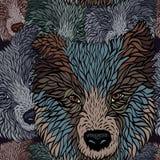 Seamless  pattern of a head dog Stock Photo