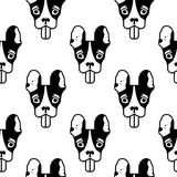 Seamless pattern with head of the french bulldog Royalty Free Stock Photos