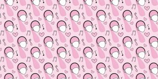Seamless pattern. Heads of women in headphones, musical notes, hearts on a pink background. royalty free illustration