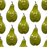 Seamless pattern of healthy fresh green pears Stock Photo